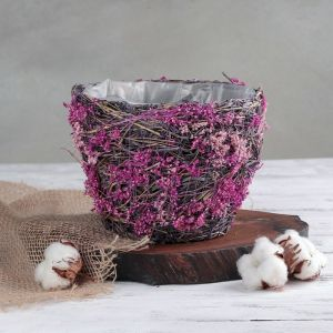 Кашпо плетёное круглое «Лаванда», 18,5?18,5?14 см