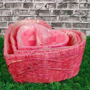 Набор кашпо «Сердце», 3 шт: 25?25?10 см, 20?20?9 см, 15?15?8 см, розовый, сизаль 2882637