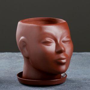 """Фигурное кашпо """"Голова"""" коричневое 15 см     4026391"""