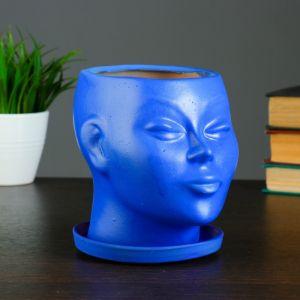 "Фигурное кашпо ""Голова"" синее 15 см   4362932"