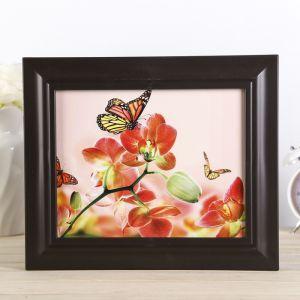 """Ключница """"Персиковые орхидеи и бабочки"""" Венге 26х31 см   4209019"""