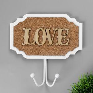 """Крючок декоративный дерево """"LOVE"""" 16,5х16 см   3556582"""