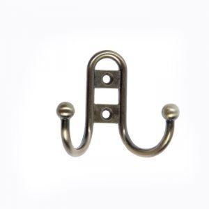 Крючок-вешалка, двухрожковый (арт.220L) LIGHT, цвет бронза   4645207