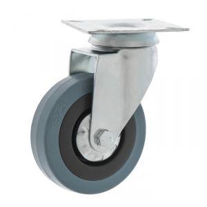 Колесо для тележек поворотное, d=75 серая резина   4636938