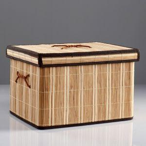 Короб для хранения, с крышкой, складной, 41?31?26 см, бамбук   4427897