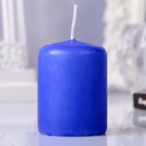 Свеча пеньковая, 4х5см, голубая   3721363