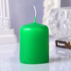 Свеча пеньковая, 4х5см, зелёная   3721367