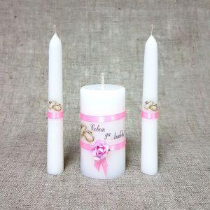 """Набор свечей """"Совет да любовь с розой"""" розовый: Родительские свечи Родительские свечи 1,8х15 2425160"""