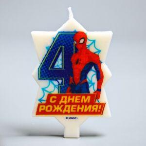 """Свеча в торт 4 """"С Днем Рождения"""", Человек-паук, 5.1 х 8 см 2494911"""