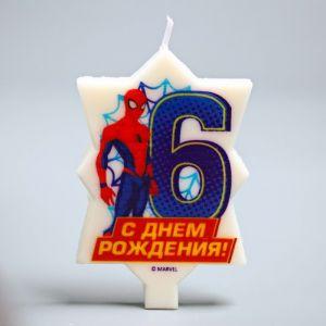 """Свеча в торт 6 """"С Днем Рождения"""", Человек-паук, 5 х 8 см 2494913"""