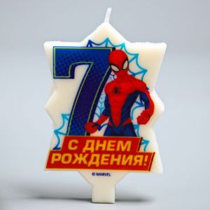 """Свеча в торт 7 """"С Днем Рождения"""", Человек-паук, 5.1 х 7.9 см 2494914"""
