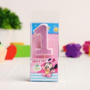 Свеча в торт цифра Дисней 1, Минни Маус, блестки розовые
