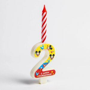 """Свеча в торт цифра Дисней """"2"""", Микки Маус"""