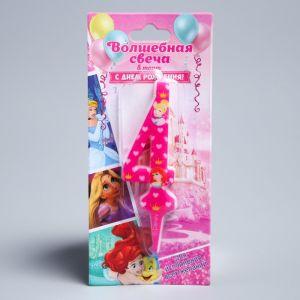 """Свеча в торт цифра Дисней 4 """"С Днем рождения"""", Принцессы"""
