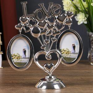 Фоторамка «Любовь и шарики-сердечки», на 2 фото 5?6,4 см, серебро