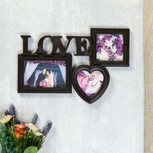 """Фоторамка-Коллаж  """"Любовь"""" на 3 фото, венге   4729344"""