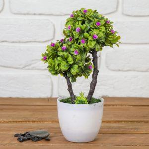 """Бонсай """"Деревце двойное с цветами"""" 15*26 см, микс   3792275"""