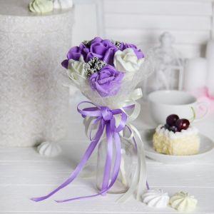 Букет «От всего сердца», 7 цветов, цвет молочно-фиолетовый