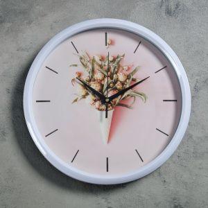 """Часы настенные, серия: Интерьер, """"Карраль"""", d=30 см, белые  4460507"""