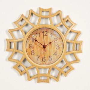 """Часы настенные, серия: Интерьер, """"Лепнина"""", светлое дерево, 25х25 см 3620753"""