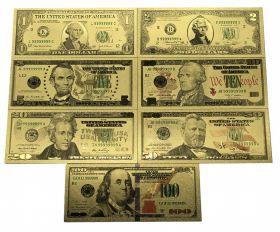 Набор 7 шт доллары банкноты (сувенирные) комплект 1 2 5 10 20 50 100 US золотые банкноты