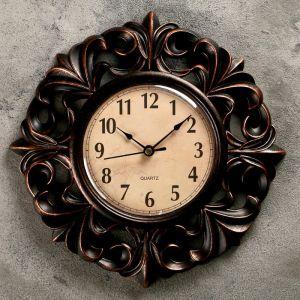 """Часы настенные, серия: Интерьер, """"Тёмные лилии"""", d=25 см 1586978"""