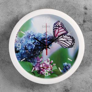 "Часы настенные, серия: Животные, ""Бабочка на цветке"", 28х28 см 2436432"