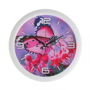 "Часы настенные, серия: Животные, ""Розовая бабочка"", 28х28 см 2436435"