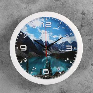 """Часы настенные, серия: Природа, """"Горное озеро"""", 28х28 см 2436860"""