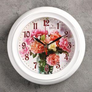 "Часы настенные круглые ""Букет"" белые"