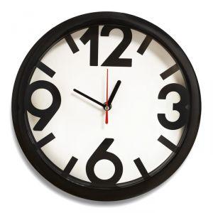"""Часы настенные """"Классика"""", 4 большие цифры, черный обод, 28х28 см"""
