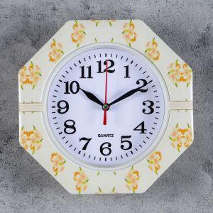 "Часы настенные, серия: Классика, ""Цветы"", 19х19х3 см , микс   4156397"