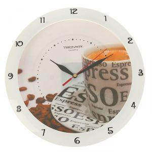 """Часы настенные круглые """"Кофе"""", белый обод, 29х29 см   1180124"""