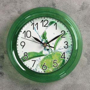 "Часы настенные, серия: Кухня, ""Лайм"", зеленый обод, 22,5х22,5 см 1379993"