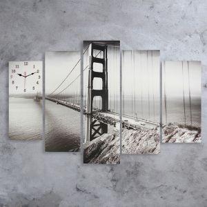 Часы настенные модульные «Мост Золотые ворота. Хром», 80 ? 140 см