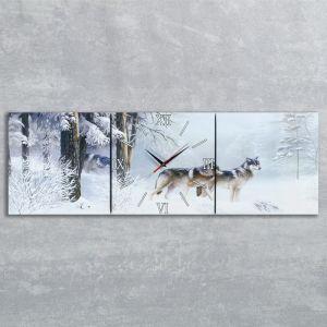 """Часы настенные, серия: Животный мир, модульные """"Волки в зимнем лесу"""", 35х110  см, микс 2044976"""