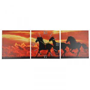 Часы настенные модульные «Лошади на закате», 35 ? 110 см