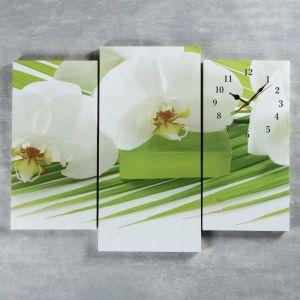 Часы настенные модульные «Белые цветы», 60 ? 80 см