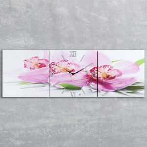 Часы настенные модульные «Сиреневые орхидеи», 35 ? 110 см