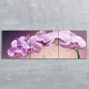 """Часы настенные, серия: Цветы, модульные """"Фиолетовые орхидеи"""", 35х110  см, микс 2044991"""