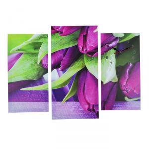 Часы настенные модульные «Фиолетовые тюльпаны», 60 ? 80 см