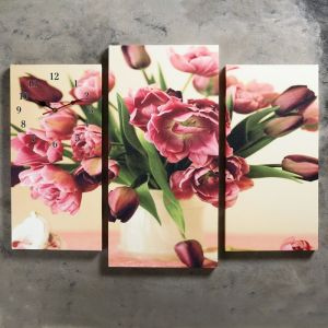 Часы настенные модульные «Цветы в вазе», 60 ? 80 см