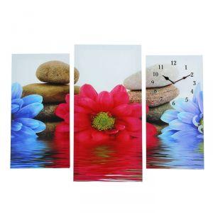 """Часы настенные, серия: Цветы, модульные """"Цветы и камни"""", 60х80  см, микс 2045024"""