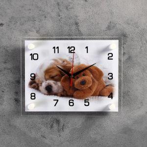 """Часы настенные, серия: Животный мир, """"Щенок и мишка"""", 20х26 см микс 3979113"""