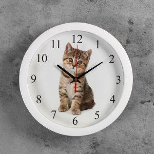 "Часы настенные круглые ""Котенок"", 28х28 см 3967554"