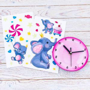 """Часы настенные с наклейками """"Слонята"""""""