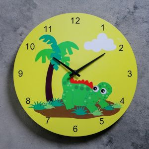 """Часы настенные, серия: Детские,  """"Динозаврик с пальмой"""", d=29.5 см 118739"""