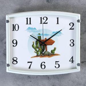 """Часы настенные, серия: Детские, """"Кактус"""",  30х3х27 см, 1 АА,  плавный ход     4719222"""
