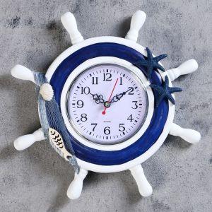 """Часы настенные """"Штурвал"""", декор в форме морских звёзд и рыбки, бело-голубые"""