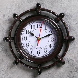 """Часы настенные, серия: Море, """"Мореплаватель"""", коричневые, микс, d=24 см 834808"""